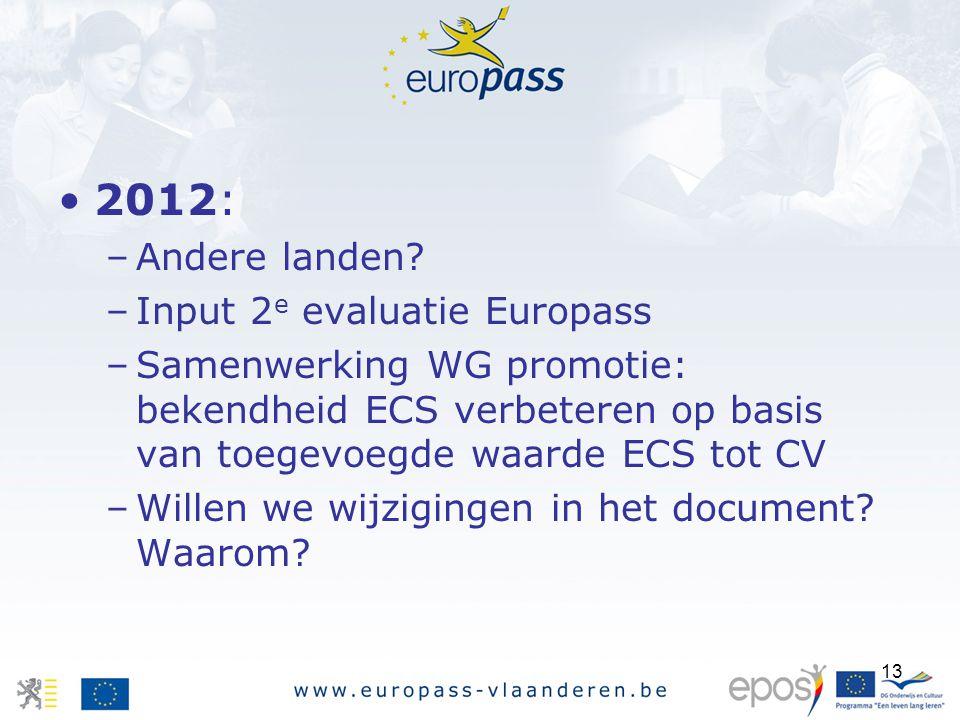 13 2012: –Andere landen? –Input 2 e evaluatie Europass –Samenwerking WG promotie: bekendheid ECS verbeteren op basis van toegevoegde waarde ECS tot CV