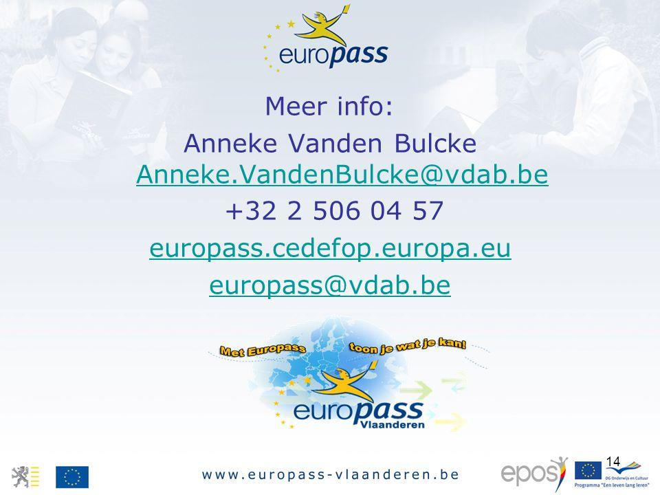 14 Meer info: Anneke Vanden Bulcke Anneke.VandenBulcke@vdab.be Anneke.VandenBulcke@vdab.be +32 2 506 04 57 europass.cedefop.europa.eu europass@vdab.be
