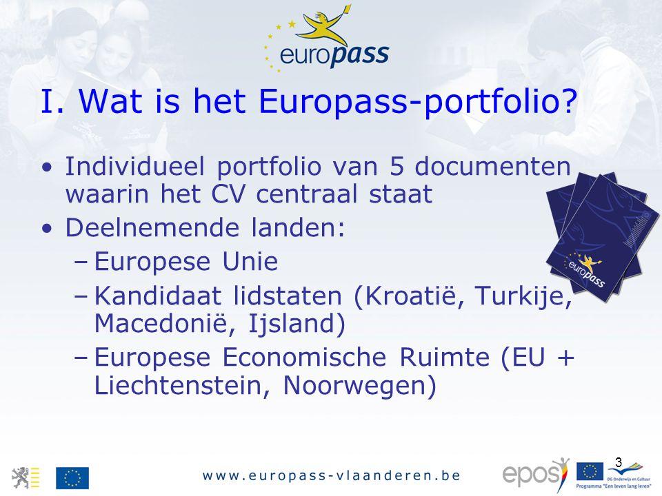 3 Individueel portfolio van 5 documenten waarin het CV centraal staat Deelnemende landen: –Europese Unie –Kandidaat lidstaten (Kroatië, Turkije, Macedonië, Ijsland) –Europese Economische Ruimte (EU + Liechtenstein, Noorwegen) I.