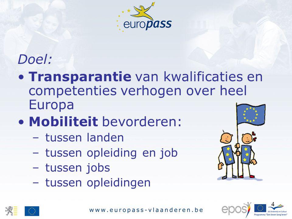 4 Doel: Transparantie van kwalificaties en competenties verhogen over heel Europa Mobiliteit bevorderen: – tussen landen – tussen opleiding en job – tussen jobs – tussen opleidingen