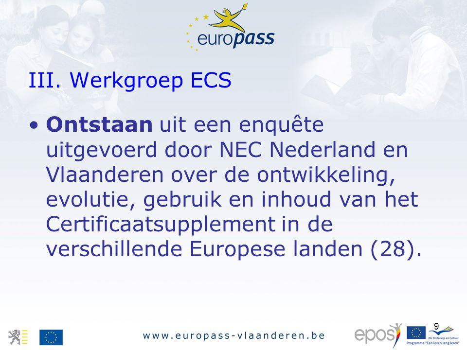 9 III. Werkgroep ECS Ontstaan uit een enquête uitgevoerd door NEC Nederland en Vlaanderen over de ontwikkeling, evolutie, gebruik en inhoud van het Ce