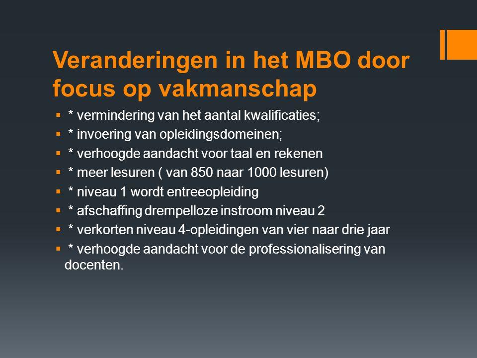 Veranderingen in het MBO door focus op vakmanschap  * vermindering van het aantal kwalificaties;  * invoering van opleidingsdomeinen;  * verhoogde