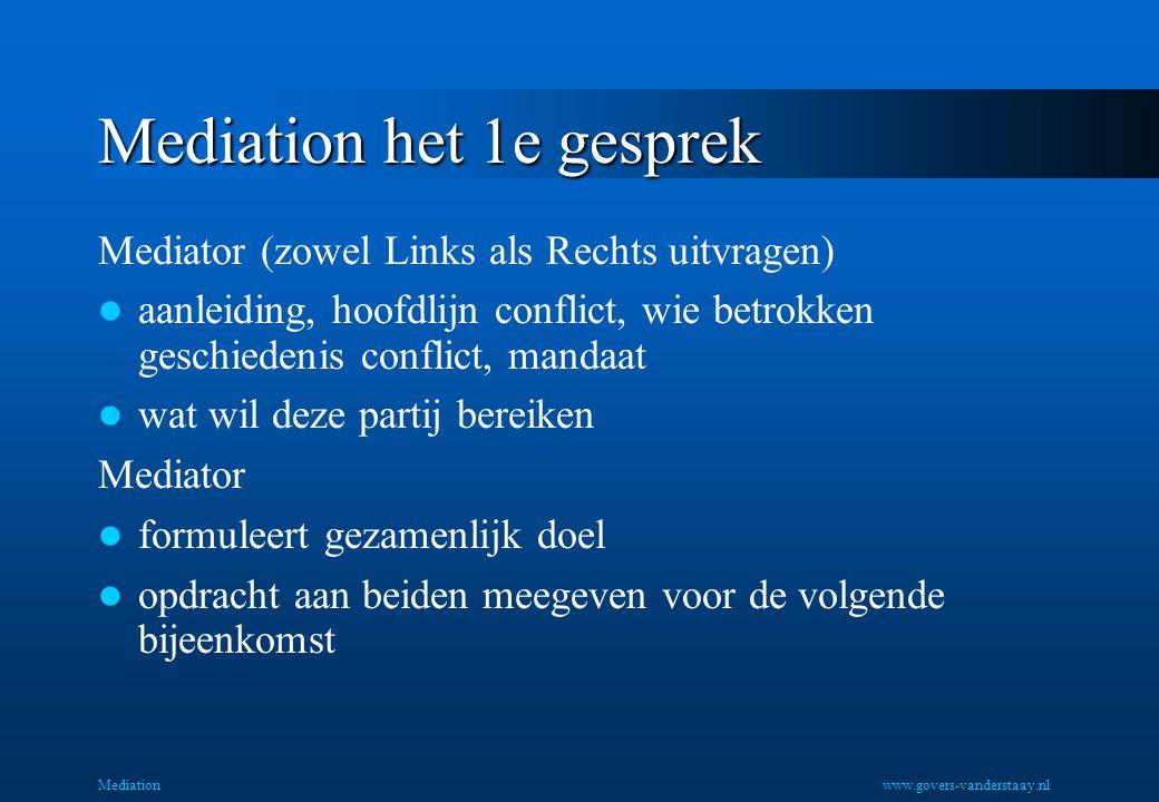 Mediation Mediation het 1e gesprek Mediator (zowel Links als Rechts uitvragen) aanleiding, hoofdlijn conflict, wie betrokken geschiedenis conflict, ma
