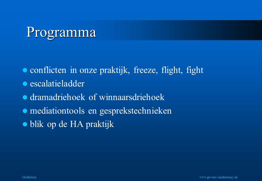 Mediation Programma conflicten in onze praktijk, freeze, flight, fight escalatieladder dramadriehoek of winnaarsdriehoek mediationtools en gesprekstechnieken blik op de HA praktijk www.govers-vanderstaay.nl