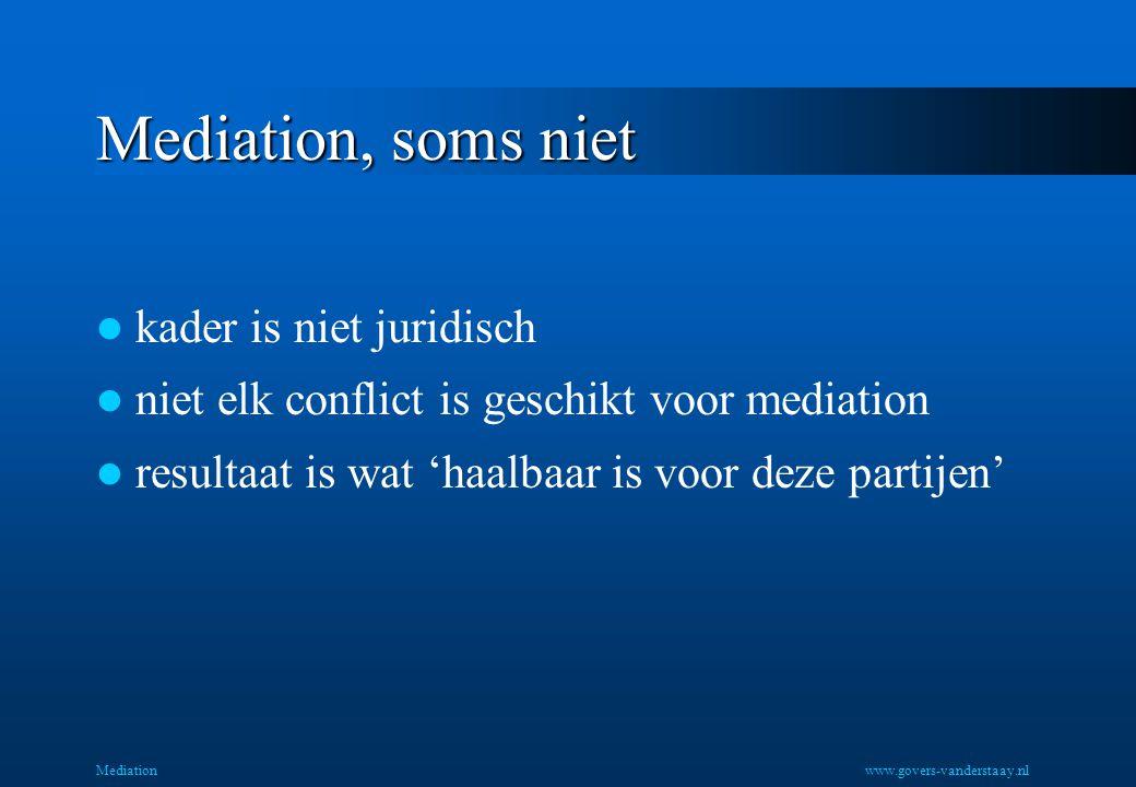 Mediation, soms niet kader is niet juridisch niet elk conflict is geschikt voor mediation resultaat is wat 'haalbaar is voor deze partijen' Mediationw