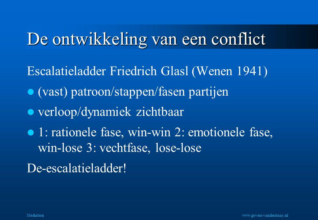 De ontwikkeling van een conflict Escalatieladder Friedrich Glasl (Wenen 1941) (vast) patroon/stappen/fasen partijen verloop/dynamiek zichtbaar 1: rationele fase, win-win 2: emotionele fase, win-lose 3: vechtfase, lose-lose De-escalatieladder.
