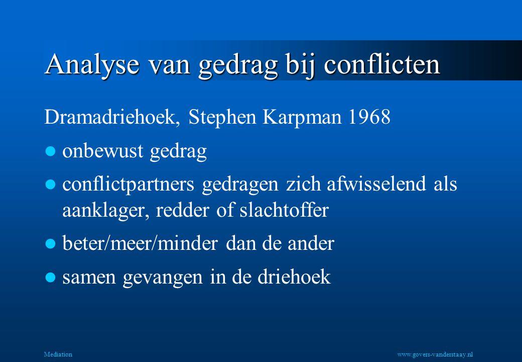 Analyse van gedrag bij conflicten Dramadriehoek, Stephen Karpman 1968 onbewust gedrag conflictpartners gedragen zich afwisselend als aanklager, redder of slachtoffer beter/meer/minder dan de ander samen gevangen in de driehoek Mediationwww.govers-vanderstaay.nl