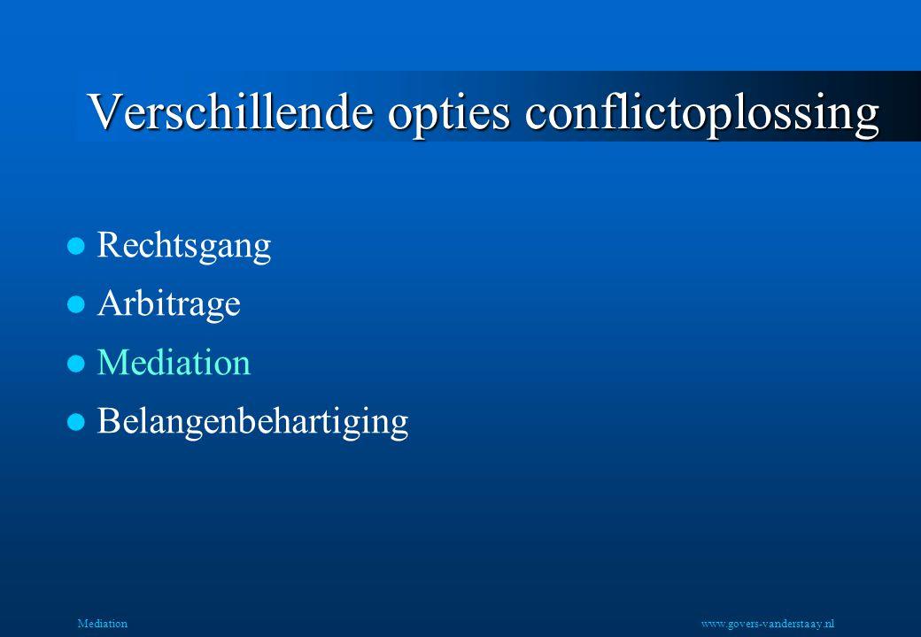 Mediation Verschillende opties conflictoplossing Rechtsgang Arbitrage Mediation Belangenbehartiging www.govers-vanderstaay.nl