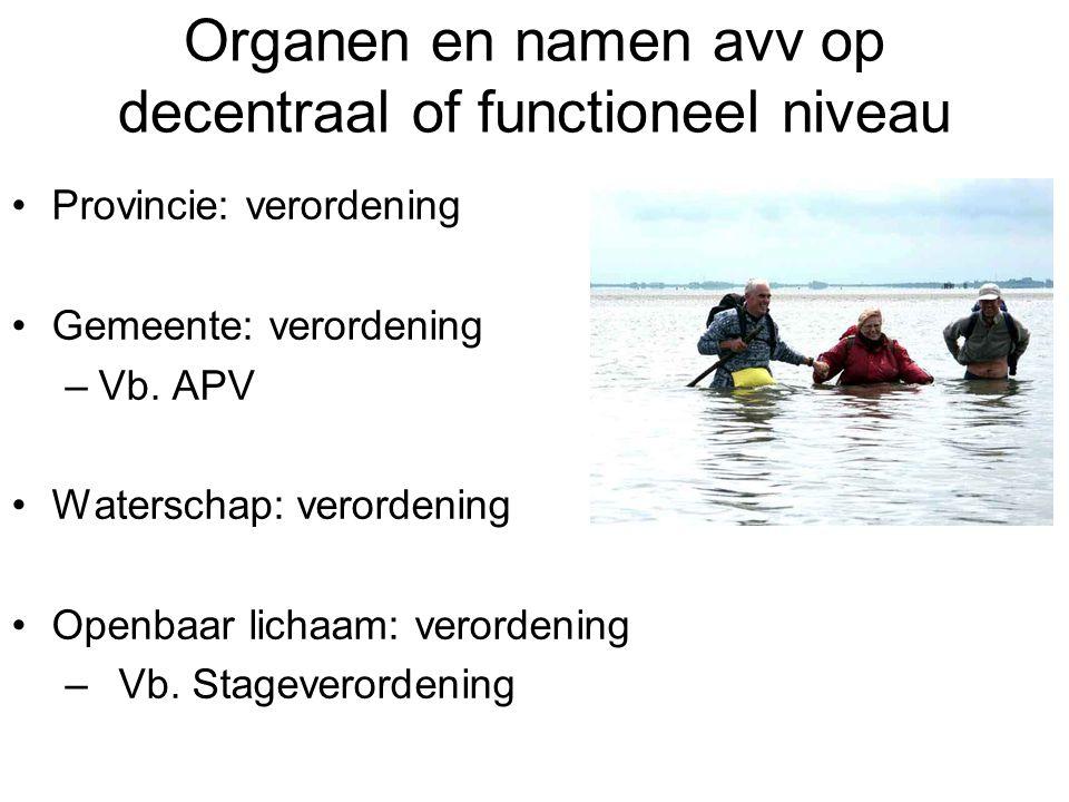 Organen en namen avv op decentraal of functioneel niveau Provincie: verordening Gemeente: verordening –Vb.