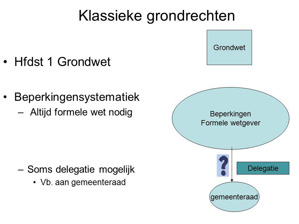 Klassieke grondrechten Hfdst 1 Grondwet Beperkingensystematiek – Altijd formele wet nodig –Soms delegatie mogelijk Vb.