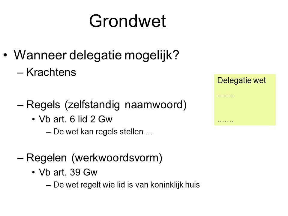 Grondwet Wanneer delegatie mogelijk.–Krachtens –Regels (zelfstandig naamwoord) Vb art.