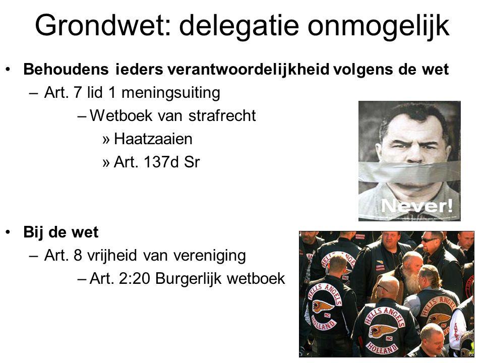 Grondwet: delegatie onmogelijk Behoudens ieders verantwoordelijkheid volgens de wet –Art.