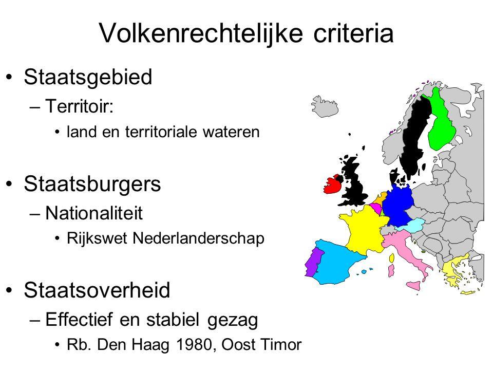 Volkenrechtelijke criteria Staatsgebied –Territoir: land en territoriale wateren Staatsburgers –Nationaliteit Rijkswet Nederlanderschap Staatsoverheid –Effectief en stabiel gezag Rb.