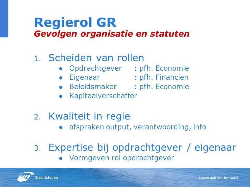 Regierol GR Gevolgen organisatie en statuten 1.Scheiden van rollen Opdrachtgever: pfh.