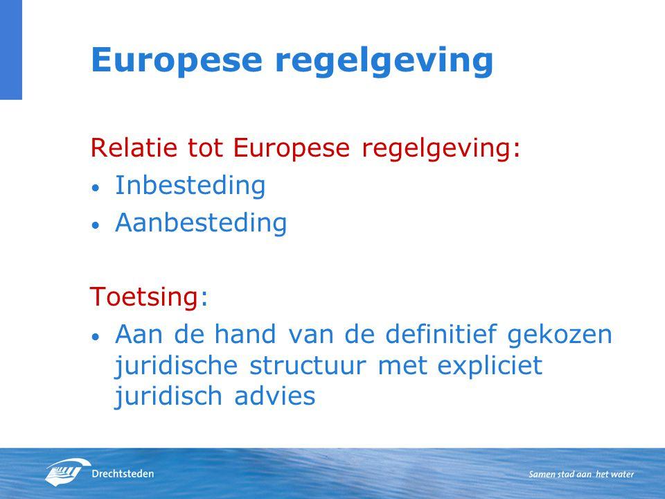 Europese regelgeving Relatie tot Europese regelgeving: Inbesteding Aanbesteding Toetsing: Aan de hand van de definitief gekozen juridische structuur met expliciet juridisch advies