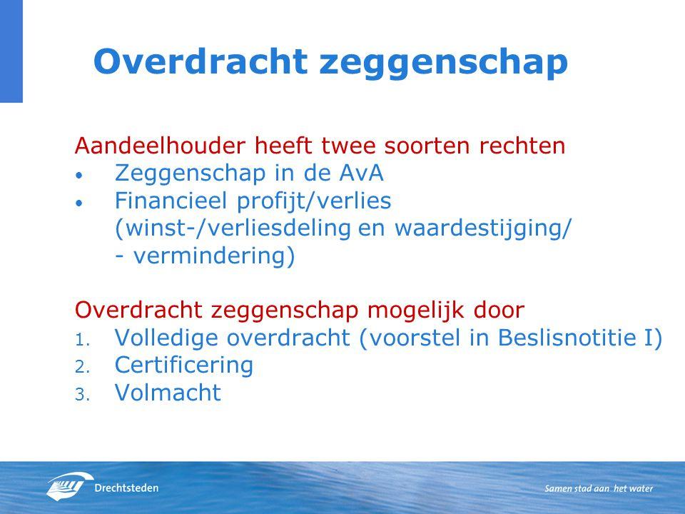 Overdracht zeggenschap Aandeelhouder heeft twee soorten rechten Zeggenschap in de AvA Financieel profijt/verlies (winst-/verliesdeling en waardestijging/ - vermindering) Overdracht zeggenschap mogelijk door 1.