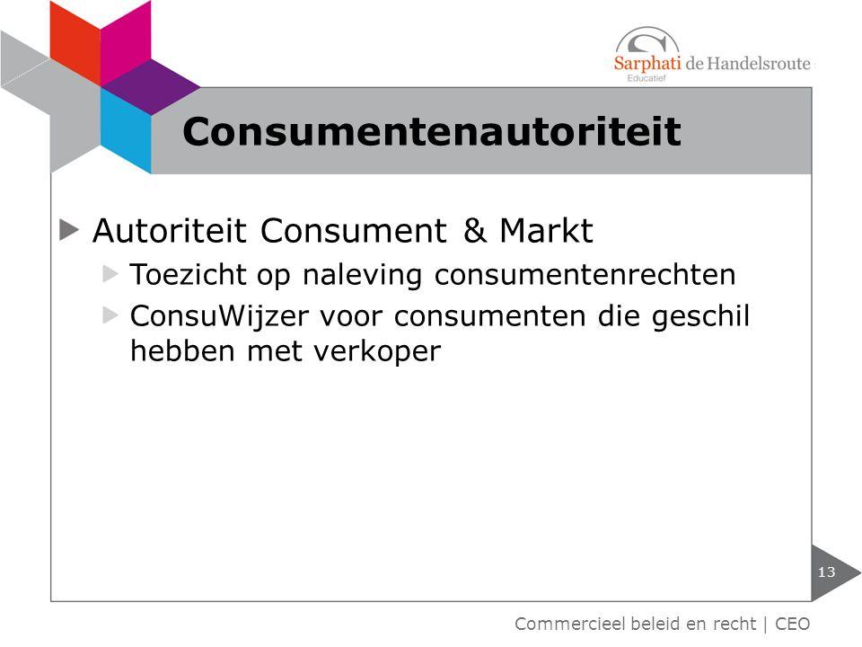 Autoriteit Consument & Markt Toezicht op naleving consumentenrechten ConsuWijzer voor consumenten die geschil hebben met verkoper 13 Consumentenautori