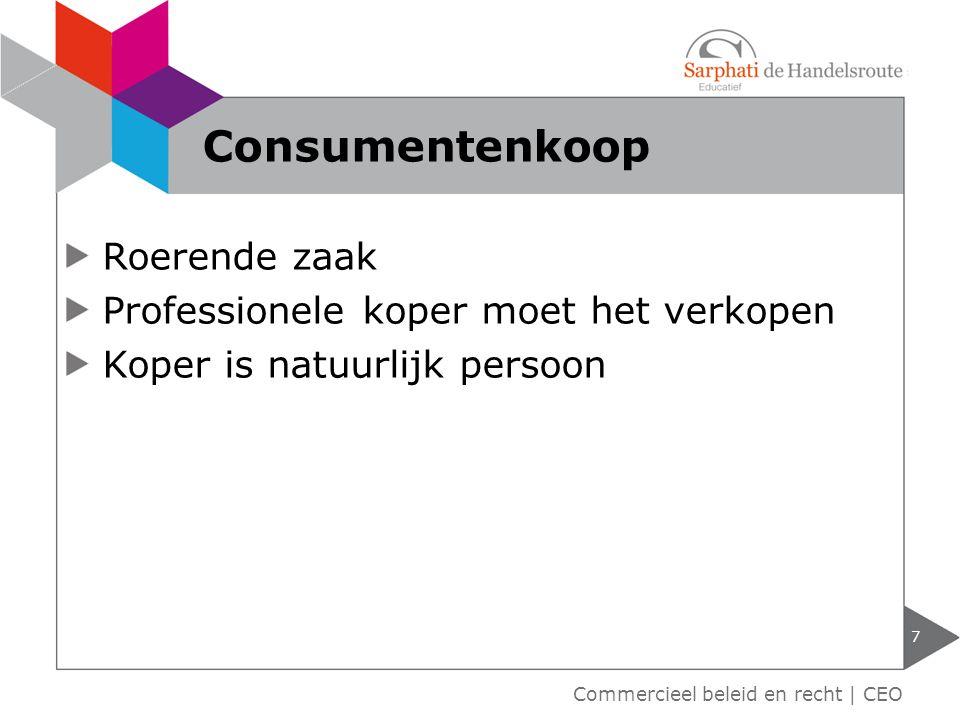 Roerende zaak Professionele koper moet het verkopen Koper is natuurlijk persoon 7 Consumentenkoop Commercieel beleid en recht | CEO