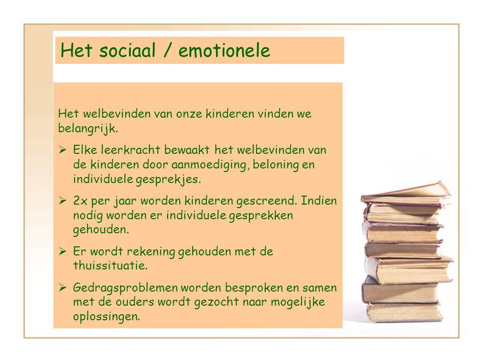 Het sociaal / emotionele Het welbevinden van onze kinderen vinden we belangrijk. EElke leerkracht bewaakt het welbevinden van de kinderen door aanmo
