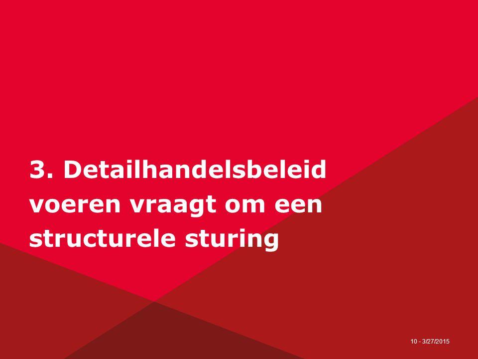 10 - 3/27/2015 3. Detailhandelsbeleid voeren vraagt om een structurele sturing