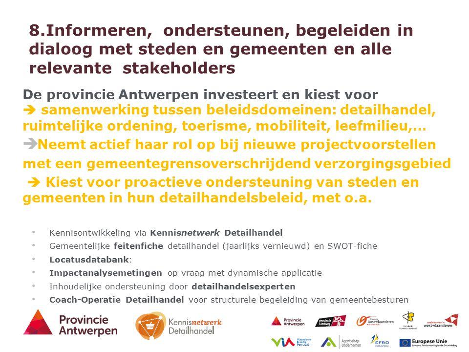 21 - 27/03/2015 8.Informeren, ondersteunen, begeleiden in dialoog met steden en gemeenten en alle relevante stakeholders De provincie Antwerpen invest
