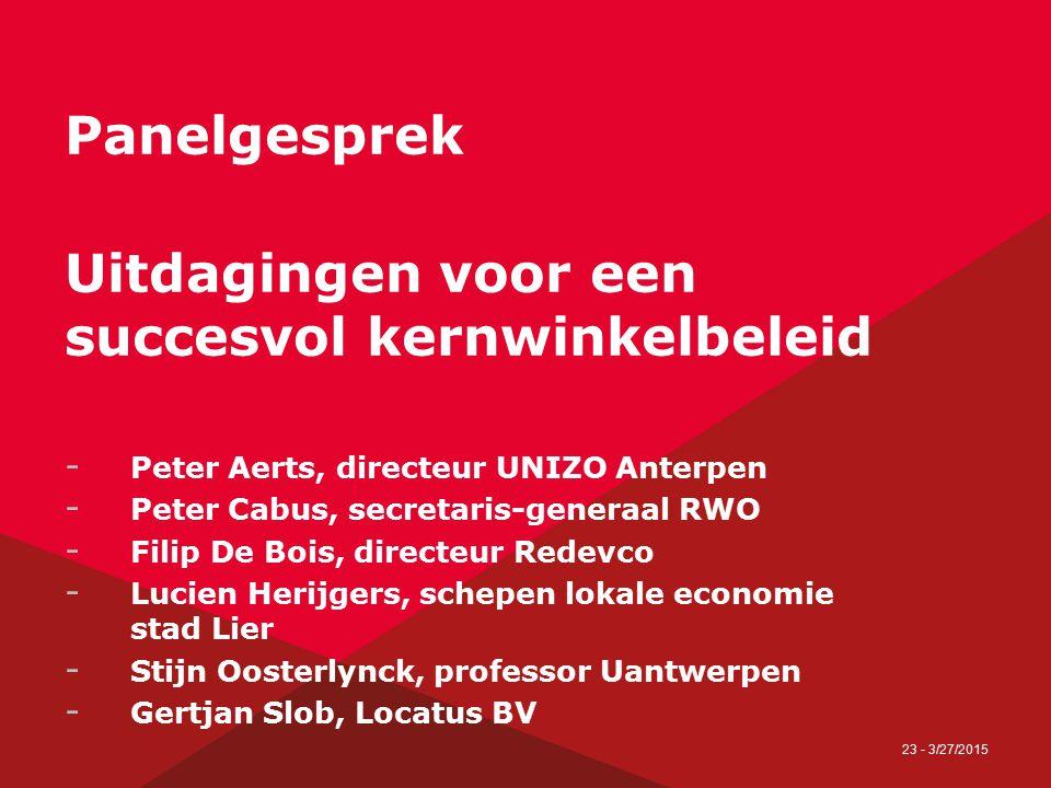 23 - 3/27/2015 Panelgesprek Uitdagingen voor een succesvol kernwinkelbeleid - Peter Aerts, directeur UNIZO Anterpen - Peter Cabus, secretaris-generaal
