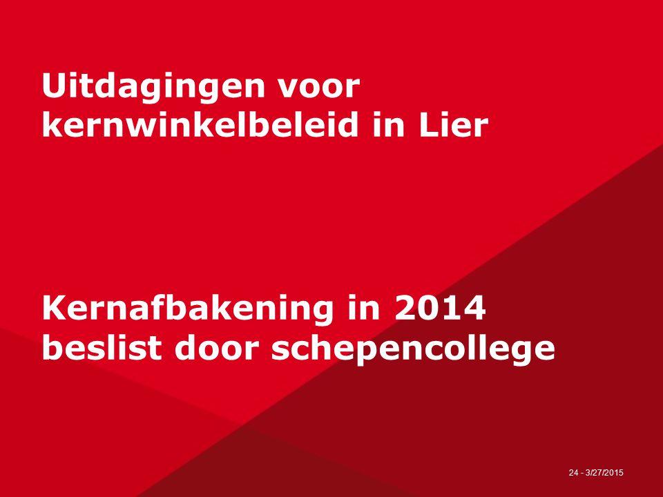 24 - 3/27/2015 Uitdagingen voor kernwinkelbeleid in Lier Kernafbakening in 2014 beslist door schepencollege