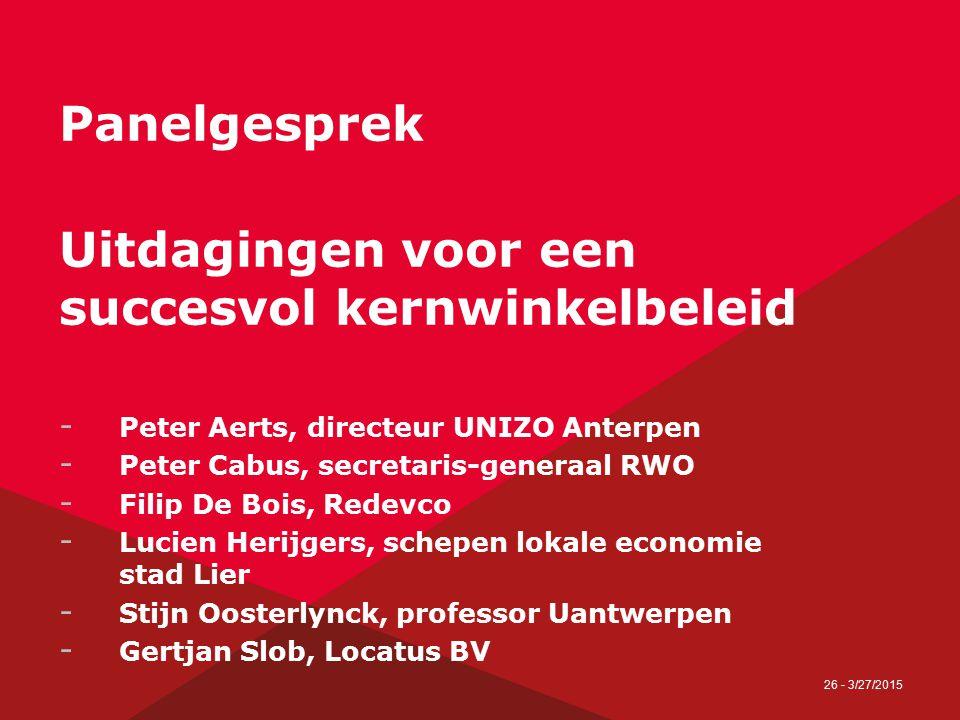 26 - 3/27/2015 Panelgesprek Uitdagingen voor een succesvol kernwinkelbeleid - Peter Aerts, directeur UNIZO Anterpen - Peter Cabus, secretaris-generaal