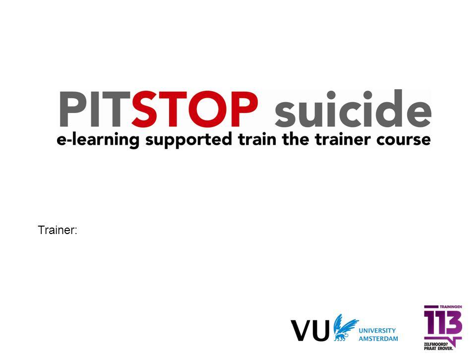 afronding Voor verdere vragen  Lees de richtlijn en de verkorte versie  Lees de trainershandleiding  Volg de e-learning module via E-cadamy  Lees Kerkhof en Van Luyn (2010) Suicidepreventie in de praktijk