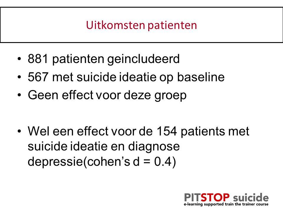Patienten: 881 patienten geincludeerd 567 met suicide ideatie op baseline Geen effect voor deze groep Wel een effect voor de 154 patients met suicide