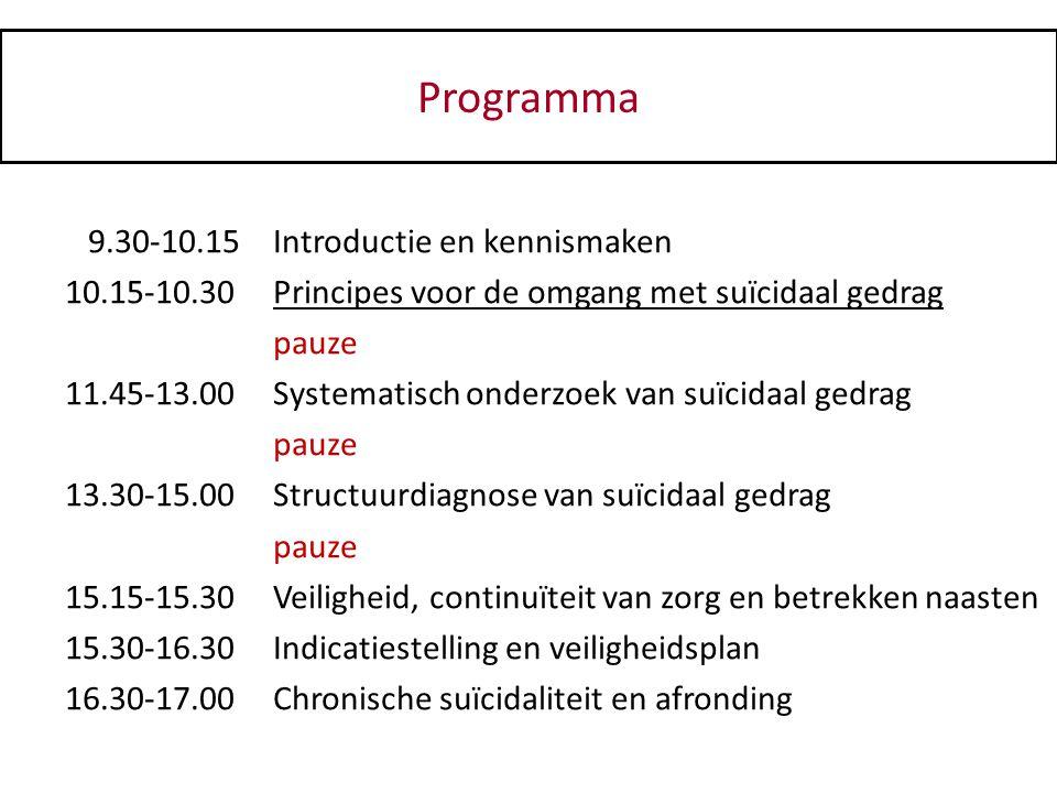 Programma 9.30-10.15Introductie en kennismaken 10.15-10.30Principes voor de omgang met suïcidaal gedrag pauze 11.45-13.00Systematisch onderzoek van su