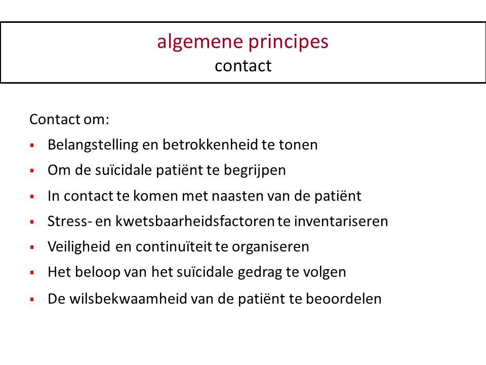 Contact om:  Belangstelling en betrokkenheid te tonen  Om de suïcidale patiënt te begrijpen  In contact te komen met naasten van de patiënt  Stres