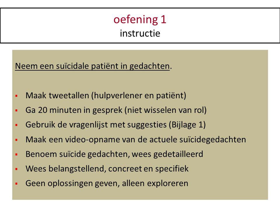 oefening 1 instructie Neem een suïcidale patiënt in gedachten.  Maak tweetallen (hulpverlener en patiënt)  Ga 20 minuten in gesprek (niet wisselen v