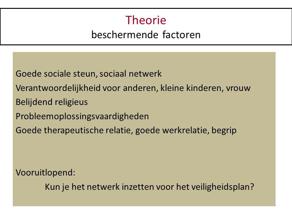 Theorie beschermende factoren Goede sociale steun, sociaal netwerk Verantwoordelijkheid voor anderen, kleine kinderen, vrouw Belijdend religieus Probl