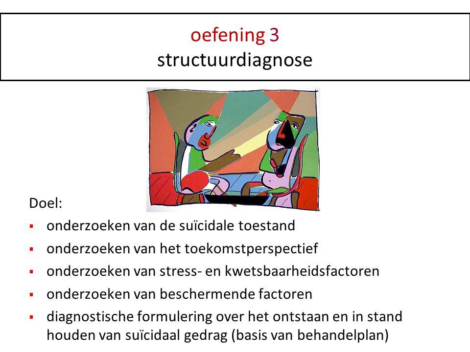 oefening 3 structuurdiagnose Doel:  onderzoeken van de suïcidale toestand  onderzoeken van het toekomstperspectief  onderzoeken van stress- en kwet