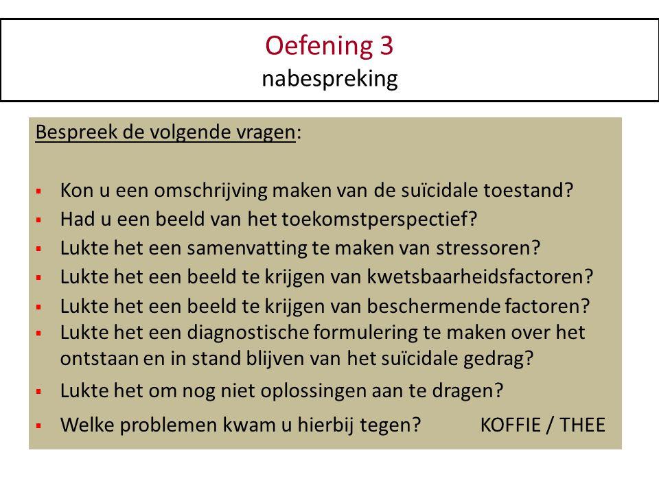 Oefening 3 nabespreking Bespreek de volgende vragen:  Kon u een omschrijving maken van de suïcidale toestand?  Had u een beeld van het toekomstpersp