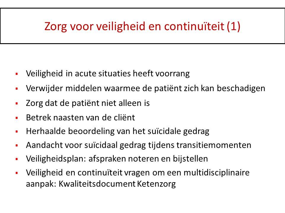Zorg voor veiligheid en continuïteit (1)  Veiligheid in acute situaties heeft voorrang  Verwijder middelen waarmee de patiënt zich kan beschadigen 