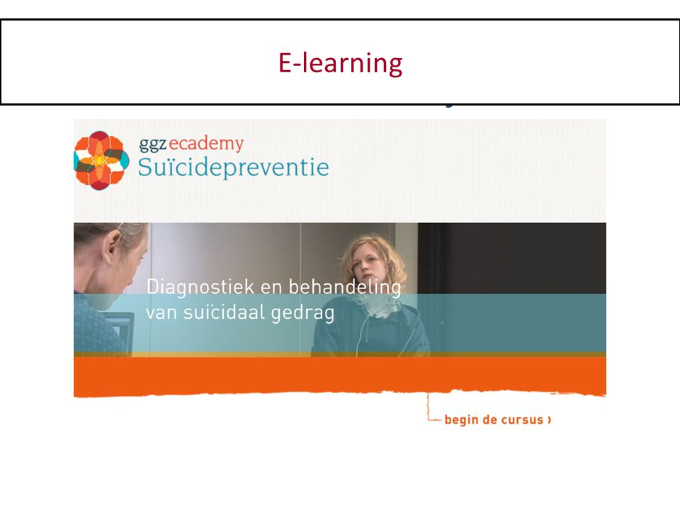 Programma 9.30- 10.15Introductie en kennismaken 10.15-11.30Principes voor de omgang met suïcidaal gedrag pauze 11.45-13.00Systematisch onderzoek van suïcidaal gedrag pauze 13.30-15.00Structuurdiagnose van suïcidaal gedrag pauze 15.15-15.30Veiligheid & continuïteit van zorg 15.30-16.30Indicatiestelling en veiligheidsplan 16.30-17.00Chronische suïcidaliteit en afronding