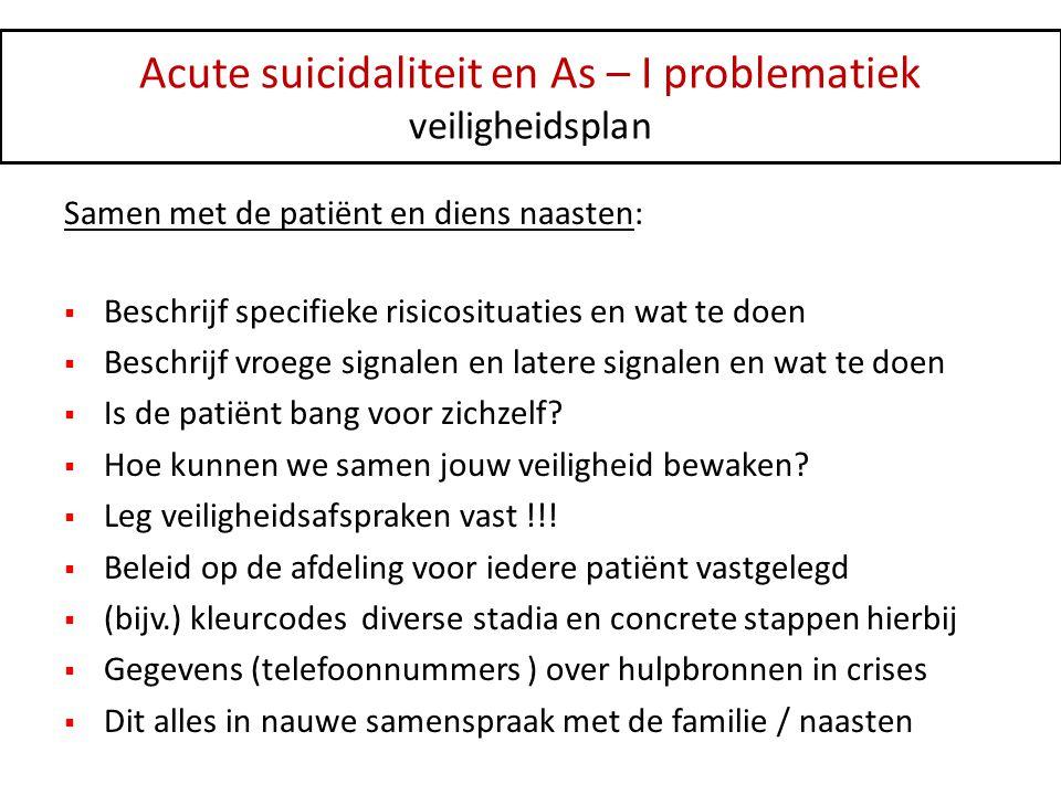Acute suicidaliteit en As – I problematiek veiligheidsplan Samen met de patiënt en diens naasten:  Beschrijf specifieke risicosituaties en wat te doe