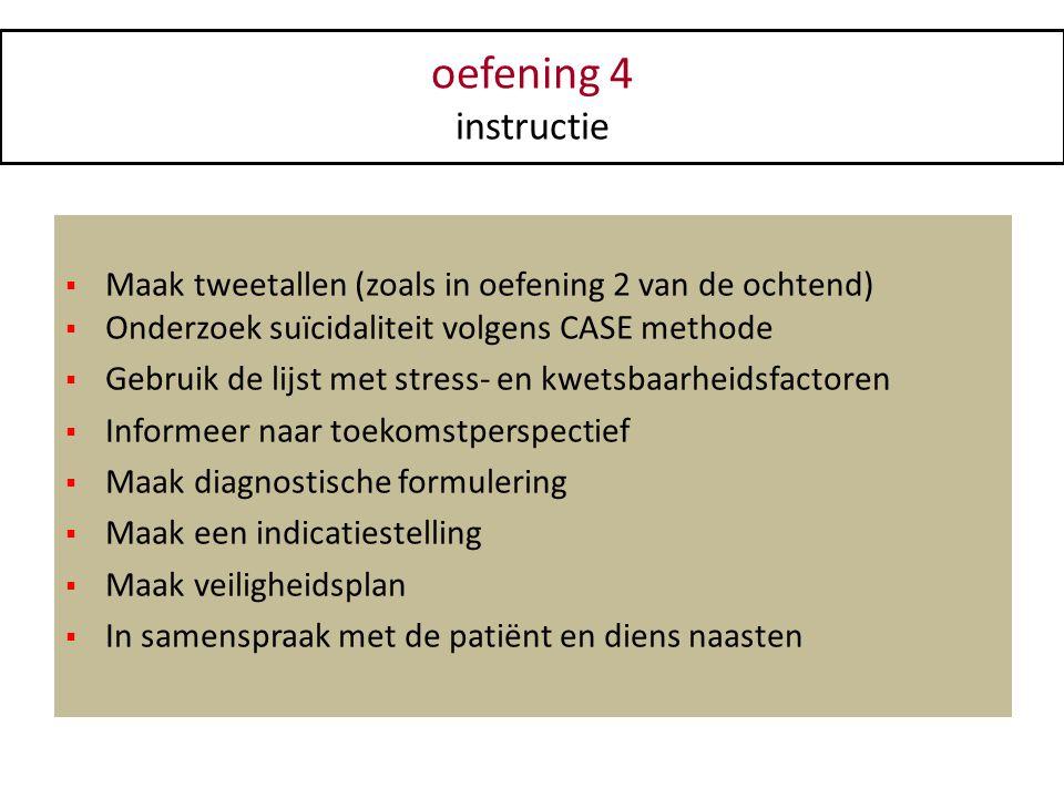 oefening 4 instructie  Maak tweetallen (zoals in oefening 2 van de ochtend)  Onderzoek suïcidaliteit volgens CASE methode  Gebruik de lijst met str