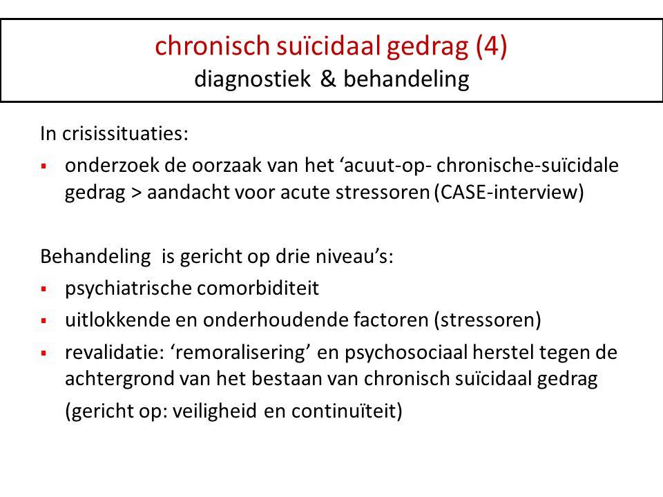 chronisch suïcidaal gedrag (4) diagnostiek & behandeling In crisissituaties:  onderzoek de oorzaak van het 'acuut-op- chronische-suïcidale gedrag > a