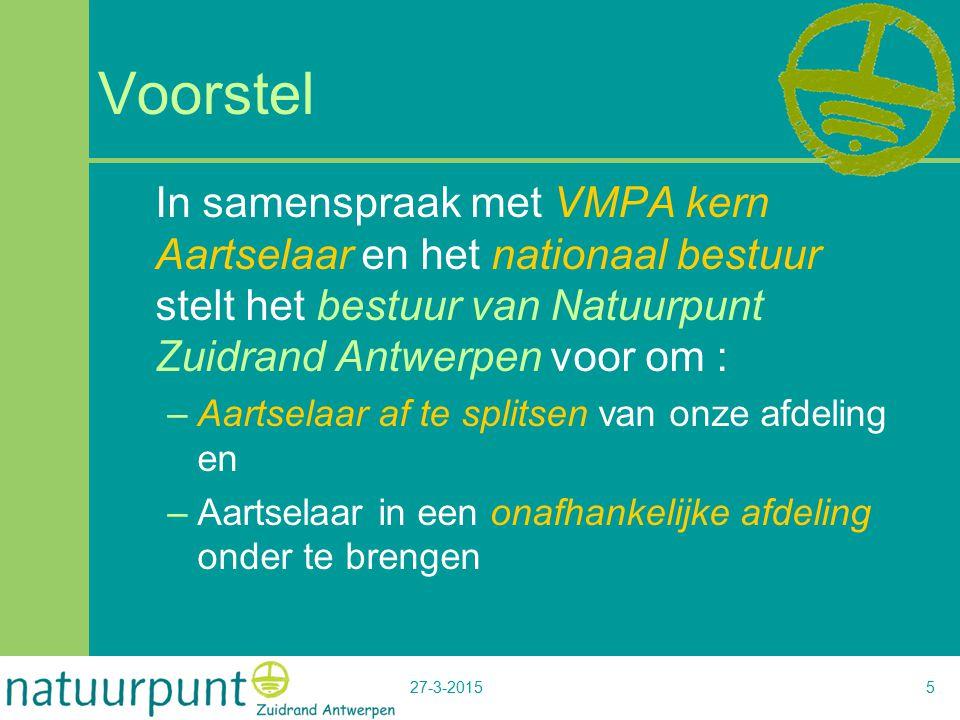 27-3-20155 Voorstel In samenspraak met VMPA kern Aartselaar en het nationaal bestuur stelt het bestuur van Natuurpunt Zuidrand Antwerpen voor om : –Aartselaar af te splitsen van onze afdeling en –Aartselaar in een onafhankelijke afdeling onder te brengen