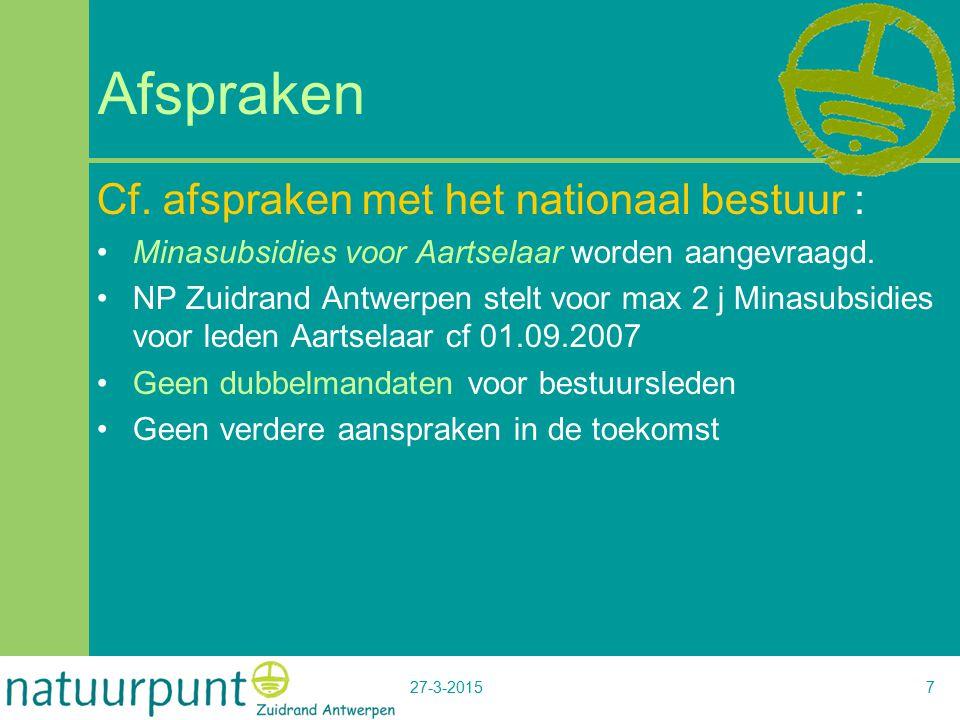27-3-20157 Afspraken Cf. afspraken met het nationaal bestuur : Minasubsidies voor Aartselaar worden aangevraagd. NP Zuidrand Antwerpen stelt voor max