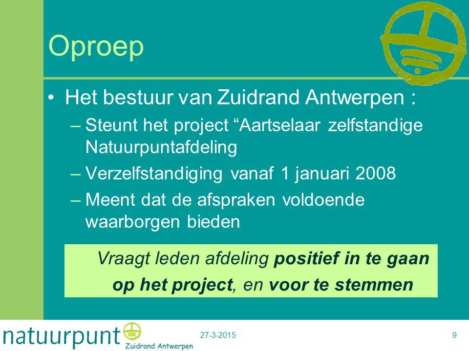 """27-3-20159 Oproep Het bestuur van Zuidrand Antwerpen : –Steunt het project """"Aartselaar zelfstandige Natuurpuntafdeling –Verzelfstandiging vanaf 1 janu"""