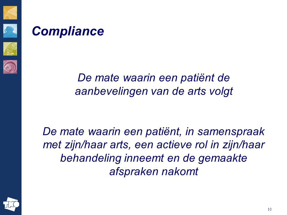 10 Compliance De mate waarin een patiënt de aanbevelingen van de arts volgt De mate waarin een patiënt, in samenspraak met zijn/haar arts, een actieve rol in zijn/haar behandeling inneemt en de gemaakte afspraken nakomt