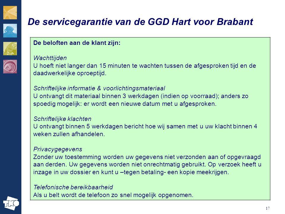 17 De servicegarantie van de GGD Hart voor Brabant De beloften aan de klant zijn: Wachttijden U hoeft niet langer dan 15 minuten te wachten tussen de afgesproken tijd en de daadwerkelijke oproeptijd.