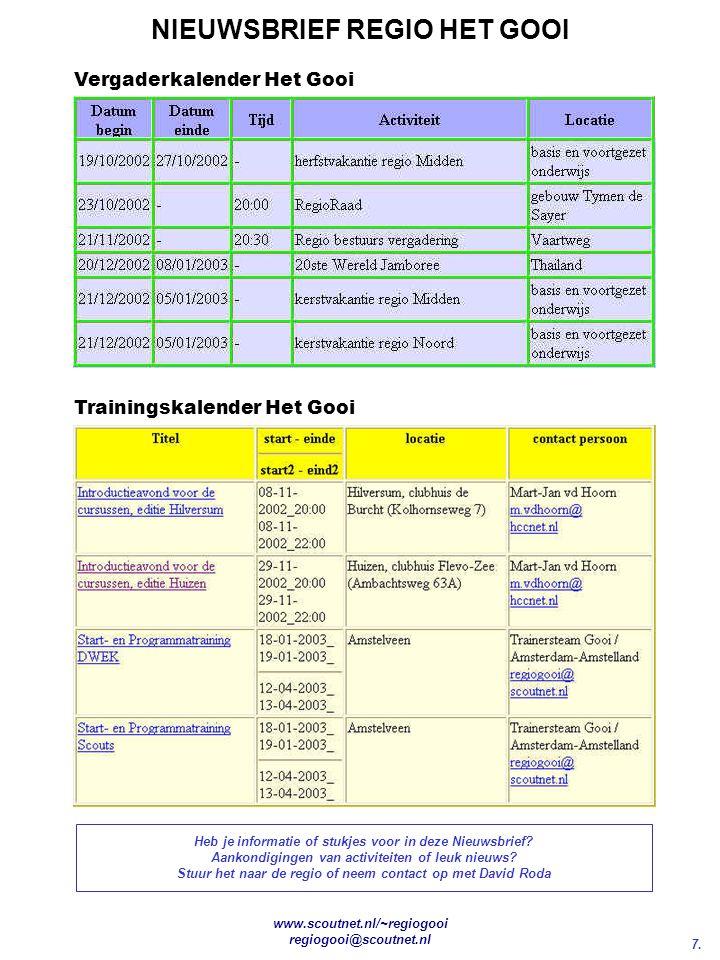 7. NIEUWSBRIEF REGIO HET GOOI www.scoutnet.nl/~regiogooi regiogooi@scoutnet.nl Heb je informatie of stukjes voor in deze Nieuwsbrief? Aankondigingen v