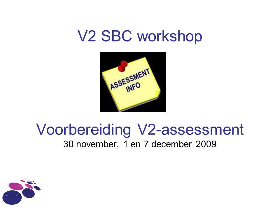 Inhoud workshop 1.Wat is de bedoeling van het V2- assessment.