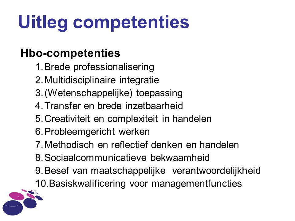 Hbo-competenties 1.Brede professionalisering 2.Multidisciplinaire integratie 3.(Wetenschappelijke) toepassing 4.Transfer en brede inzetbaarheid 5.Crea