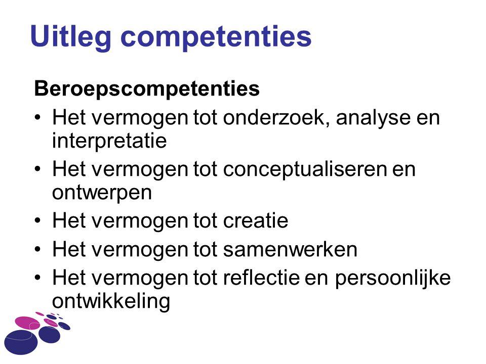 Uitleg competenties Beroepscompetenties Het vermogen tot onderzoek, analyse en interpretatie Het vermogen tot conceptualiseren en ontwerpen Het vermog